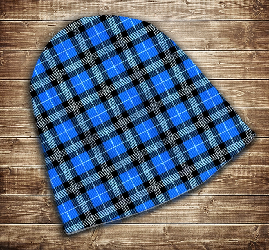 Шапка з 3D принтом - Шотландська клітинка тартан синя  Всі розміри. Всі сезони