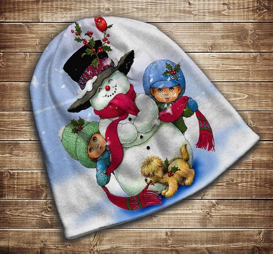 Шапка з 3D принтом -Різдво. Сніговичок  Всі розміри. Всі сезони