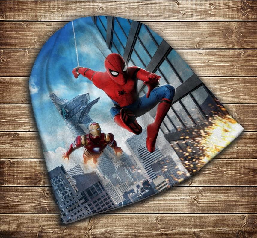 Шапка з 3D принтом - Спайдермен і Залізна Людина Всі розміри