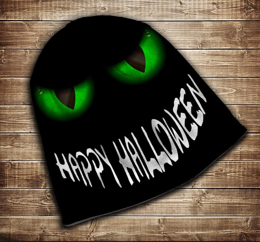 Шапка з 3D принтом - Зелені очі Happy Helloween Всі розміри