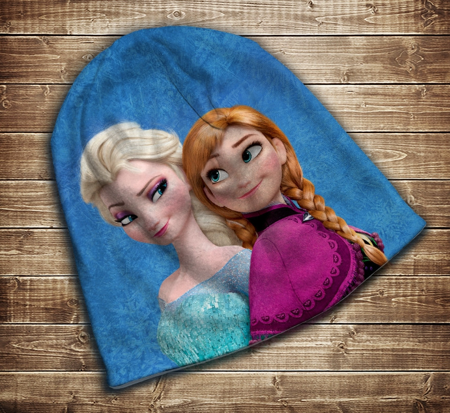 Шапка з 3D принтом -  Frozen Анна і Ельза Всі розміри