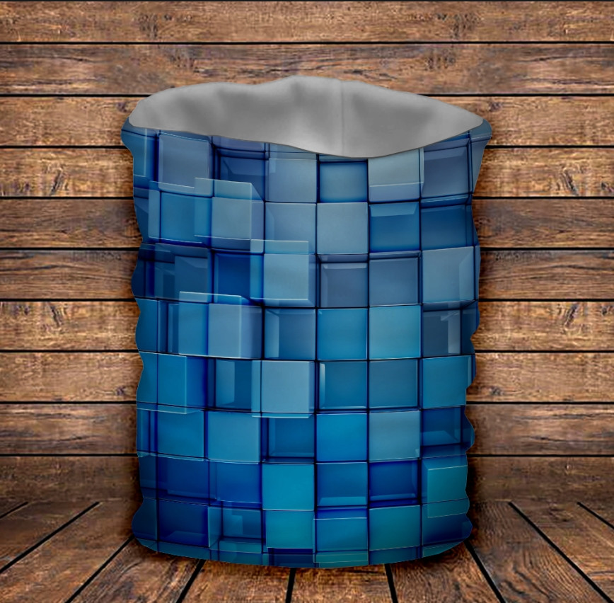 Бафф з 3D принтом  Блакитні кубики