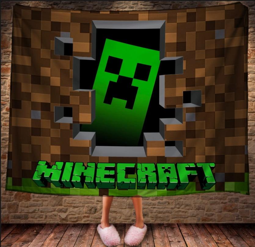 Плед з 3D принтом - Minecraft Logo
