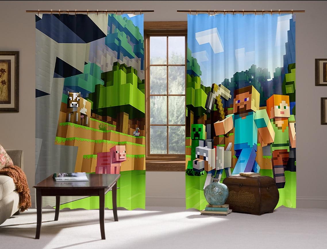 Штори 3D з принтом- Майнкрафт Лого Космос (Minecraft)