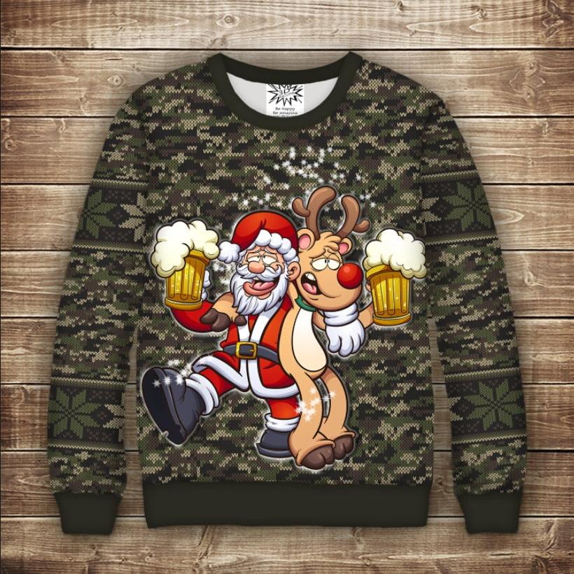 Світшот новорічний з принтом Санта  Клаус і олень Рудольф з пивом