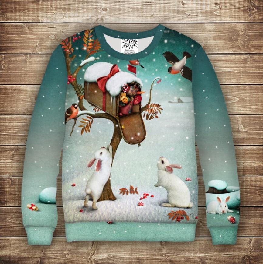 Світшот новорічний з принтом Зайченята з подарунками і снігури. Дивосвіт. Всі розміри