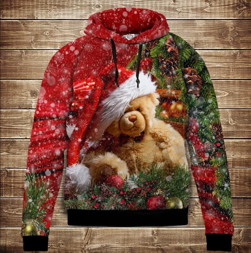 Толстівка новорічна з принтом Різдвяний ведмедик Тедді. Дитячі і дорослі розміри