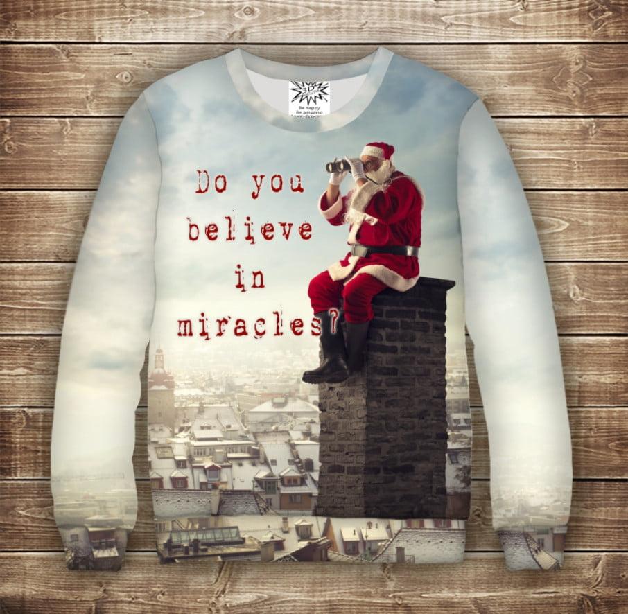 Світшот різдвяний з 3D принтом Санта Клаус: Ти віриш в диво?. Дорослі і дитячі розміри