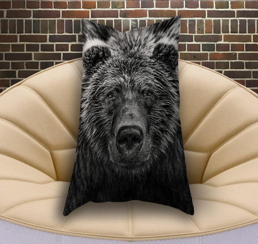 Подушка ростова вертикальна з 3D принтом  Ведмідь Графіка