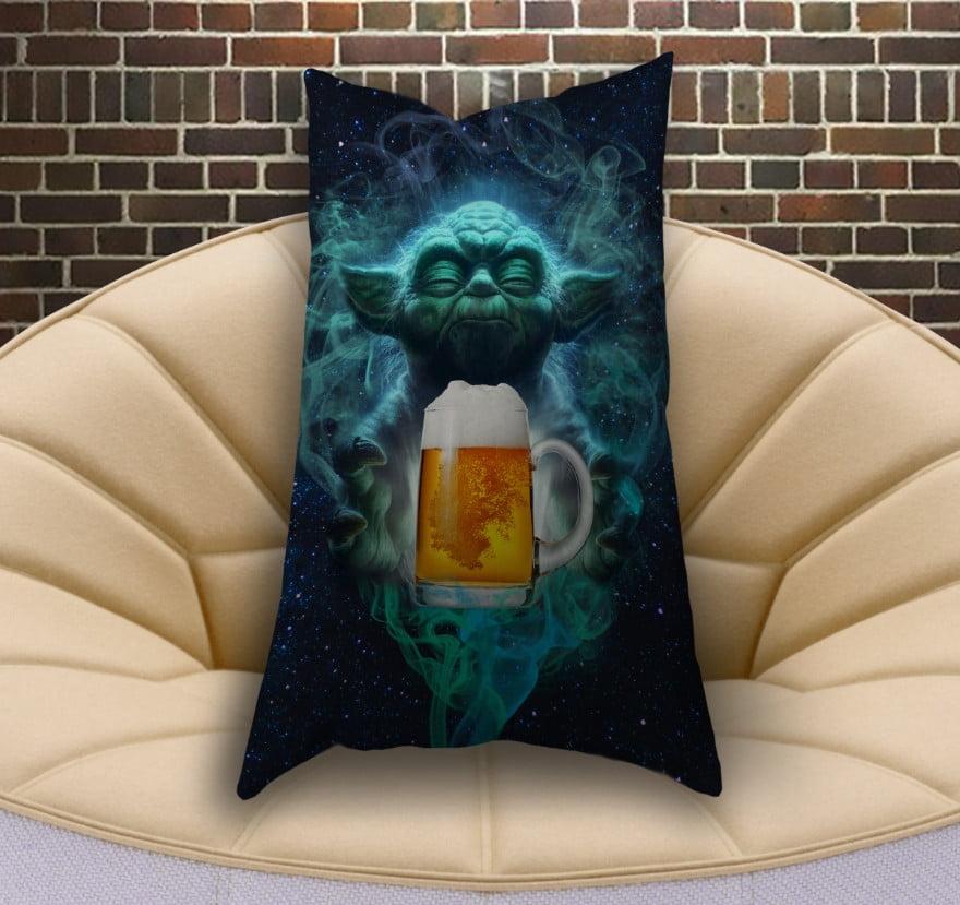 Подушка ростова вертикальна з 3D принтом  Йода Джин і пиво. Обери свою сторону