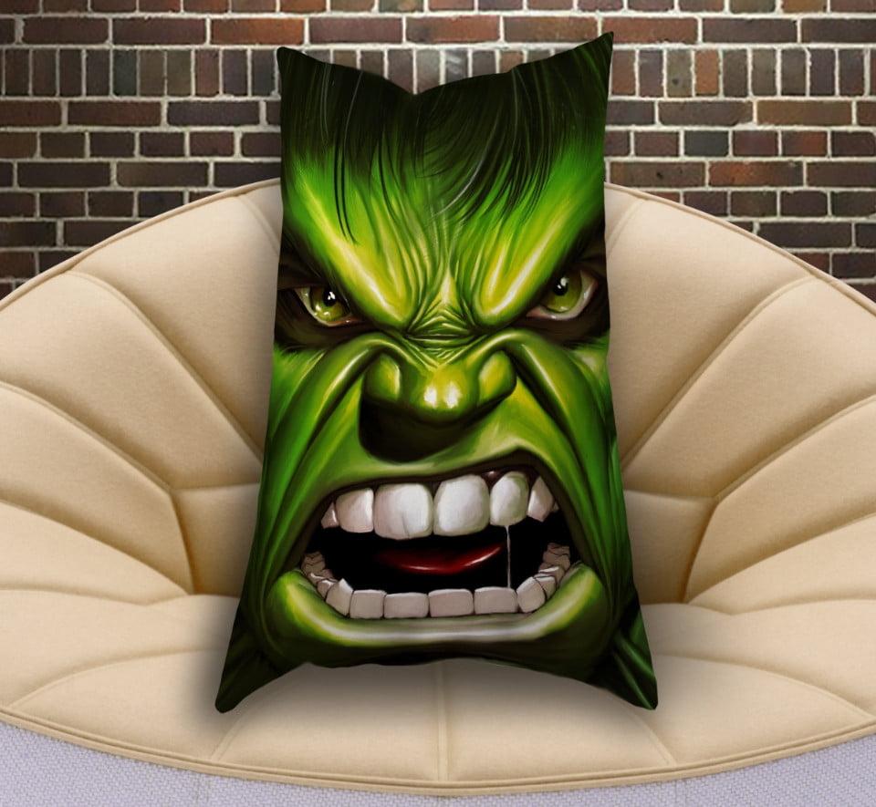Подушка ростова вертикальна з 3D принтом  Халк вільний і злий
