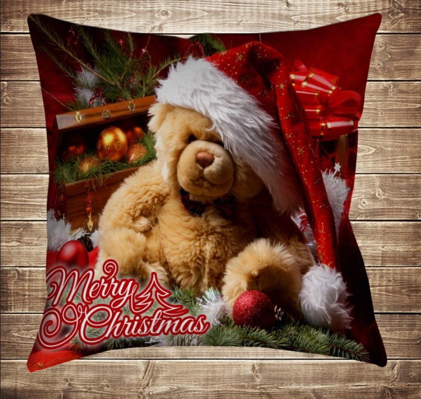 Подушка з новорічним принтом Різдвяний ведмедик Тедді