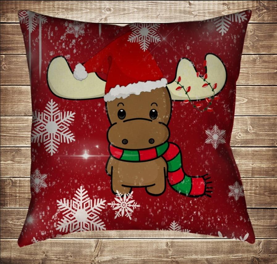 Подушка з новорічним принтом Різдвяне Лосеня