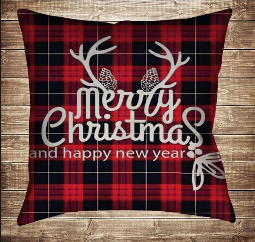 Подушка з новорічним принтом Merry Christmas. Red Tartan