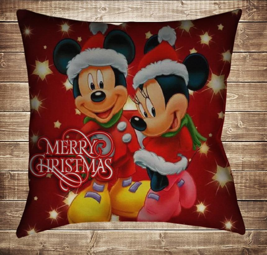 Подушка з новорічним принтом Новорічні Мінні і Міккі