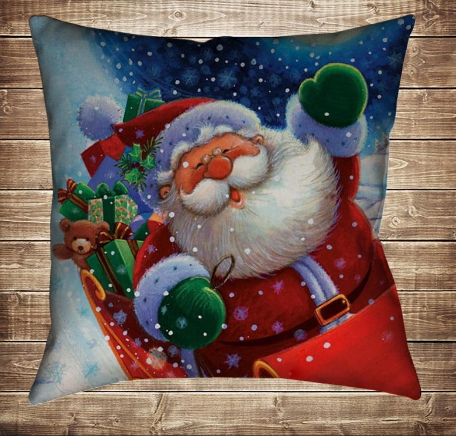 Подушка з новорічним принтом Санта на санях з подарунками
