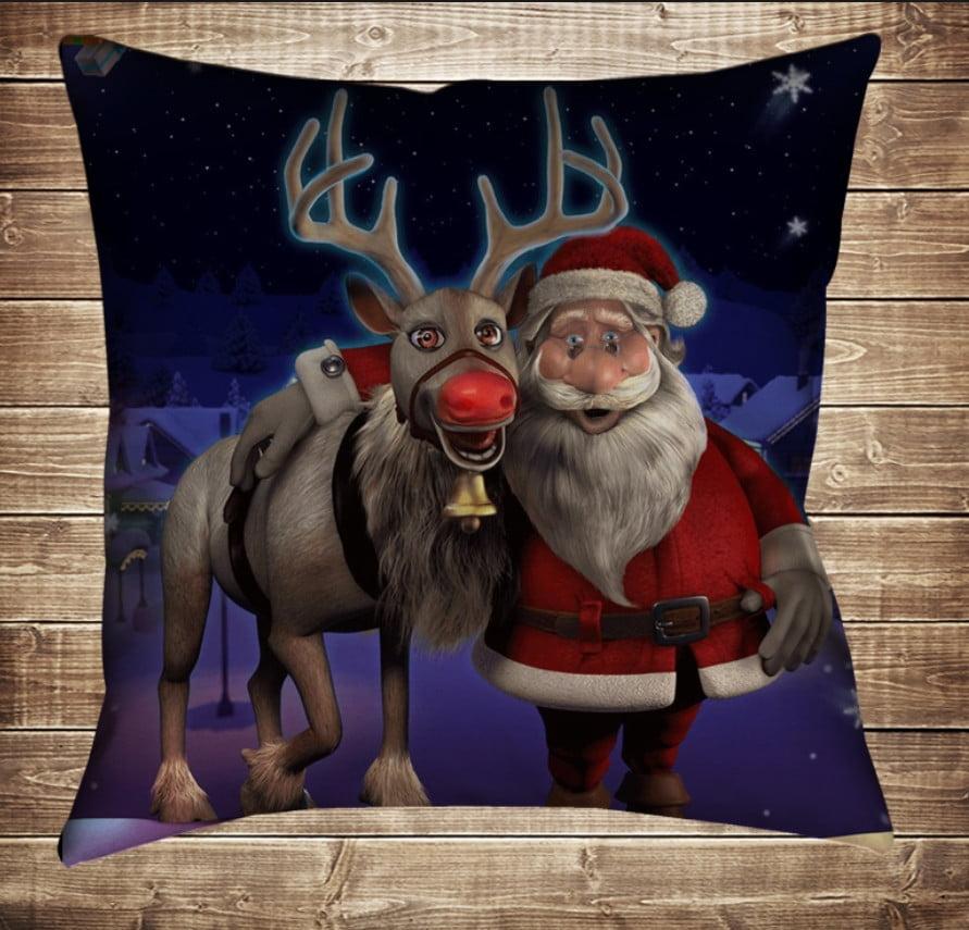 Подушка з новорічним принтом Санта з новорічним  оленем