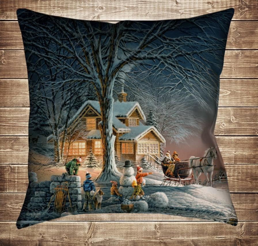 Подушка з новорічним принтом Різвяний вечір