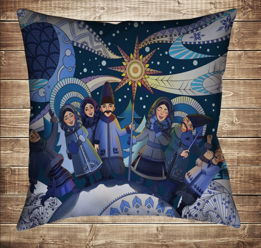 Подушка з новорічним принтом Різдвяні колядники