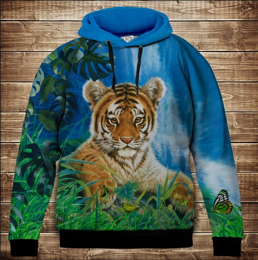 Толстівка з 3D принтом Тигр на природі . Дорослі і дитячі розміри