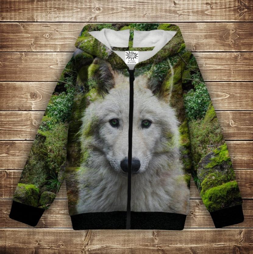 Худі теплий з 3Д принтом Білий вовк. Дорослі і дитячі розміри