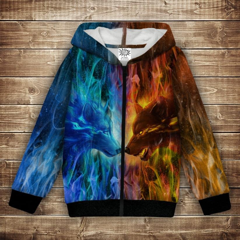 Худі теплий з 3Д принтом Wolf Colour Fire. Дорослі і дитячі розміри