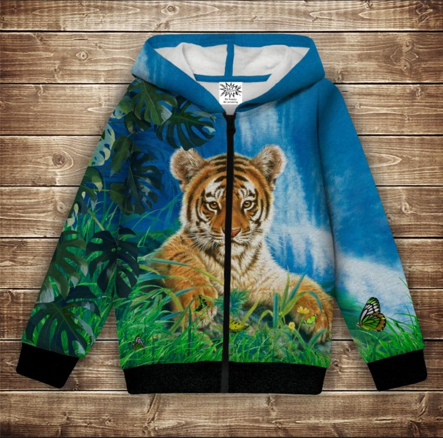Худі теплий з 3Д принтом  Тигр на природі . Дорослі і дитячі розміри
