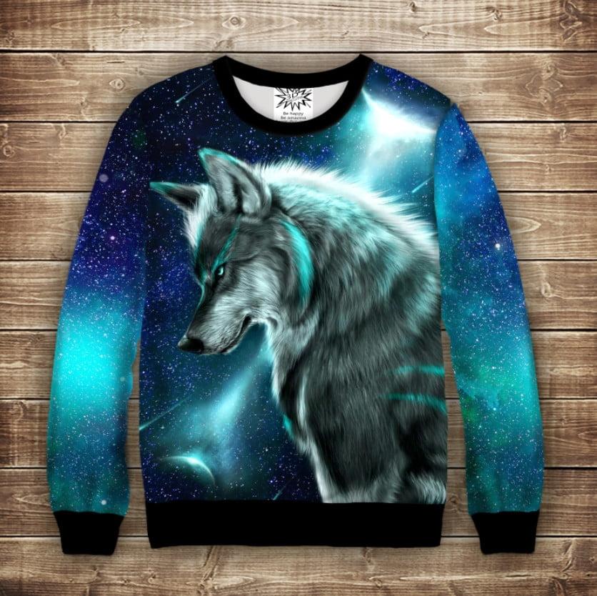 Світшот з принтом Wolf Cosmic Neon. Дорослі і дитячі розміри