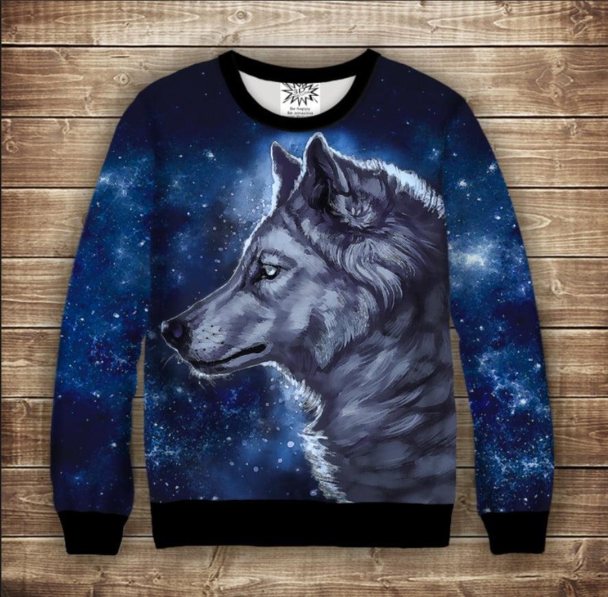 Світшот з принтом Wolf Cosmic. Дорослі і дитячі розміри
