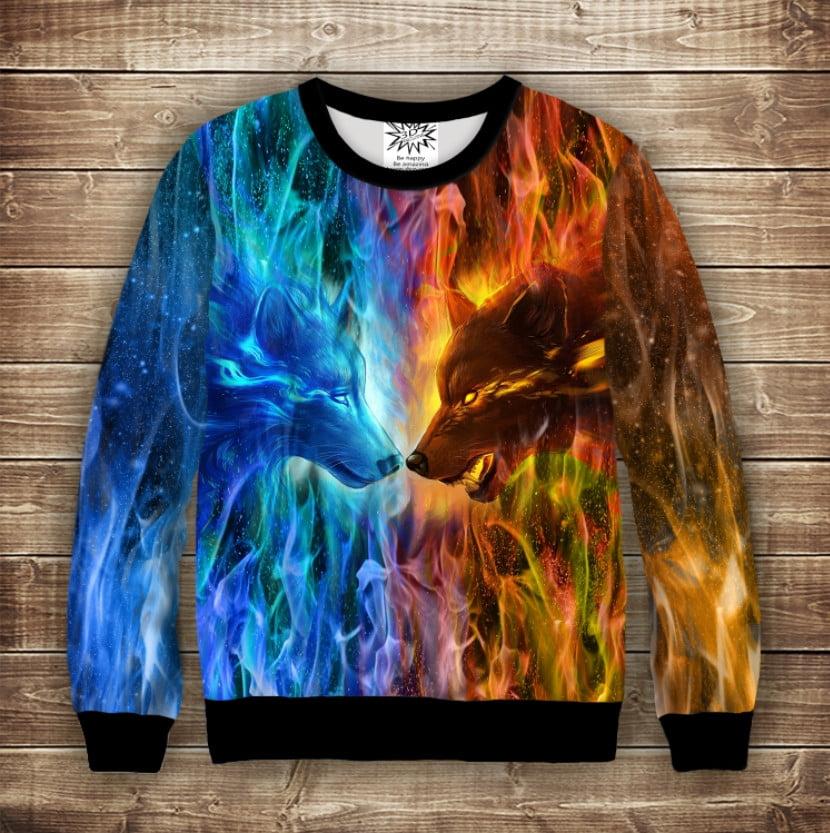Світшот з принтом Wolf Colour Fire. Дорослі і дитячі розміри