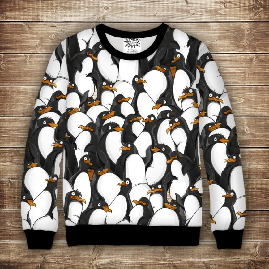 Світшот з 3D принтом  Дуже веселі пінгвіни. Дорослі і дитячі розміри
