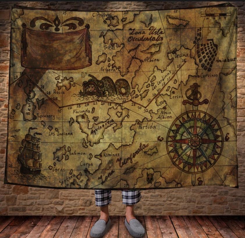 Плед з 3D принтом - Карта піратських скарбів