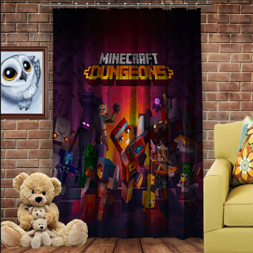Штори 3D з принтом- Minecraft Підземелля