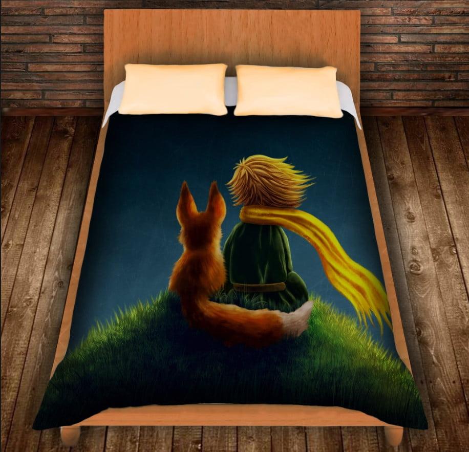 Плед з 3D принтом - Маленький принц і лис на пагорбі
