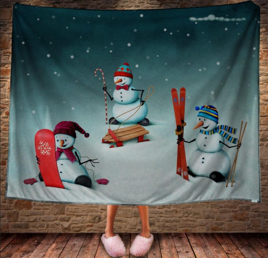 Плед з 3D принтом Розваги веселих сніговиків. Дивосвіт