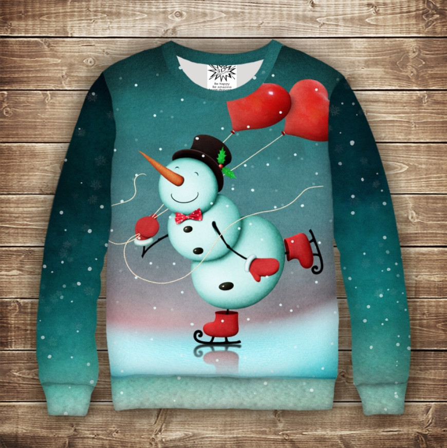 Світшот новорічний з принтом Сніговичок на ковзанах сердечками. Дивосвіт. Дорослі і дитячі розміри