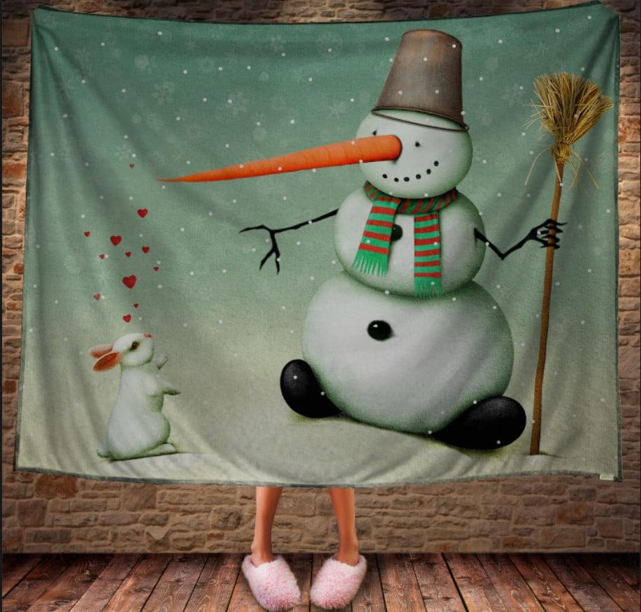 Плед з 3D принтом Сніговик і зайчик. Дивосвіт.