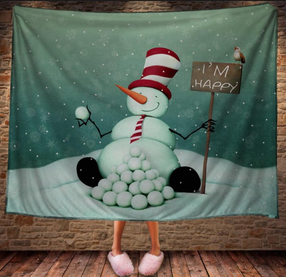 Плед з 3D принтом Сніговик щасливий. Дивосвіт.