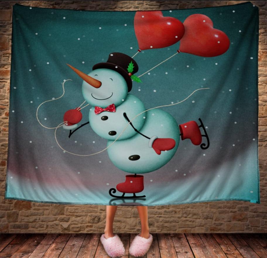 Плед з 3D принтом Сніговик на ковзанах з сердечками. Дивосвіт.