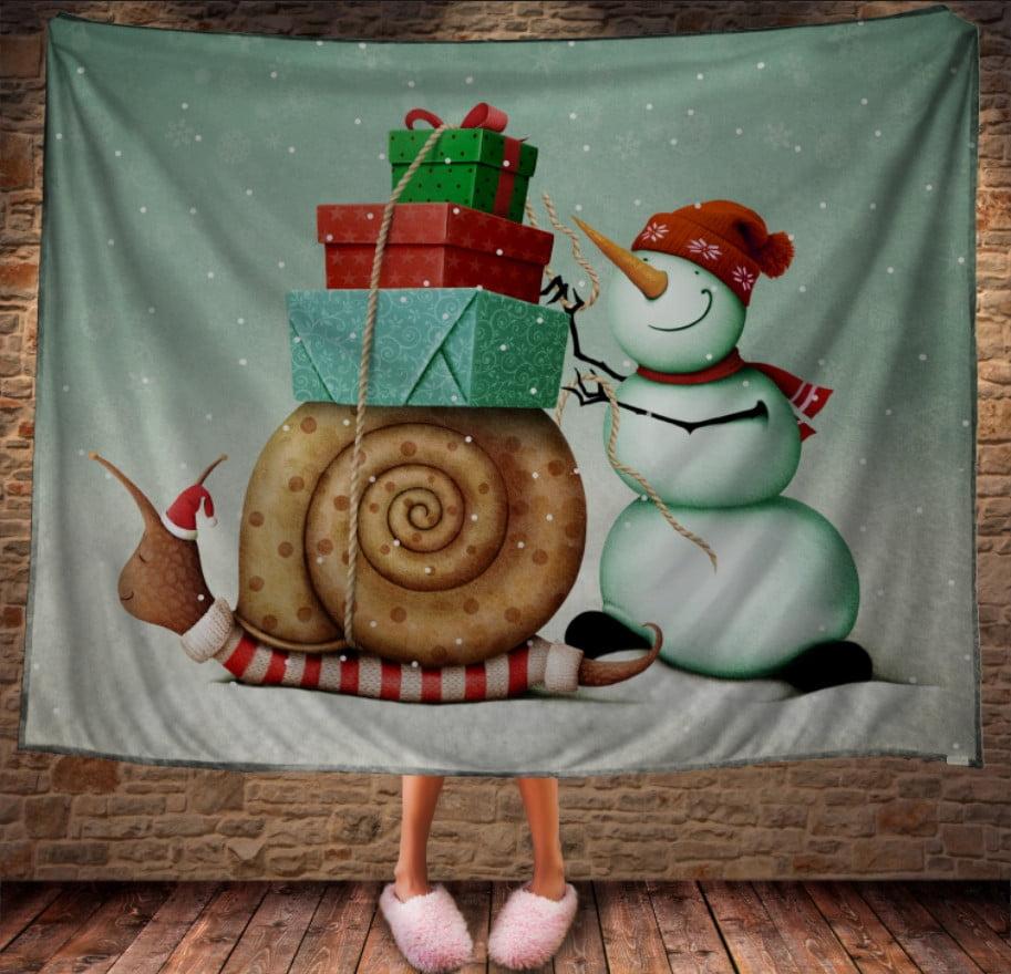 Плед з 3D принтом Сніговик і равлик з подарунками. Дивосвіт.