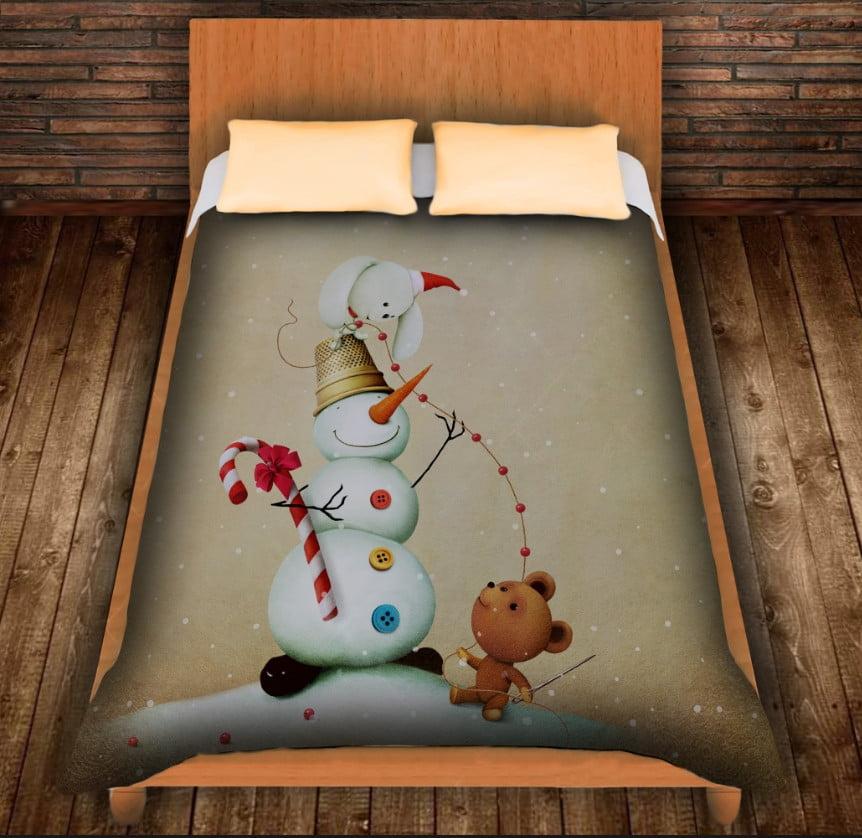Плед з 3D принтом Сніговик і милі звірятка. Дивосвіт.