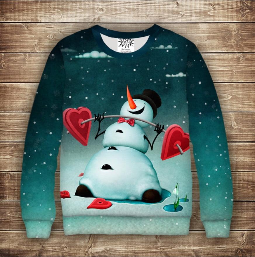 Світшот новорічний з принтом Сніговик. Сила в любові. Дивосвіт. Дорослі і дитячі розміри
