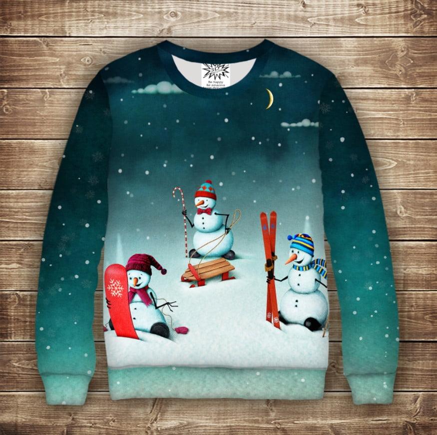Світшот новорічний з принтом Сніговики. Зимові розваги. Дивосвіт. Дорослі і дитячі розміри