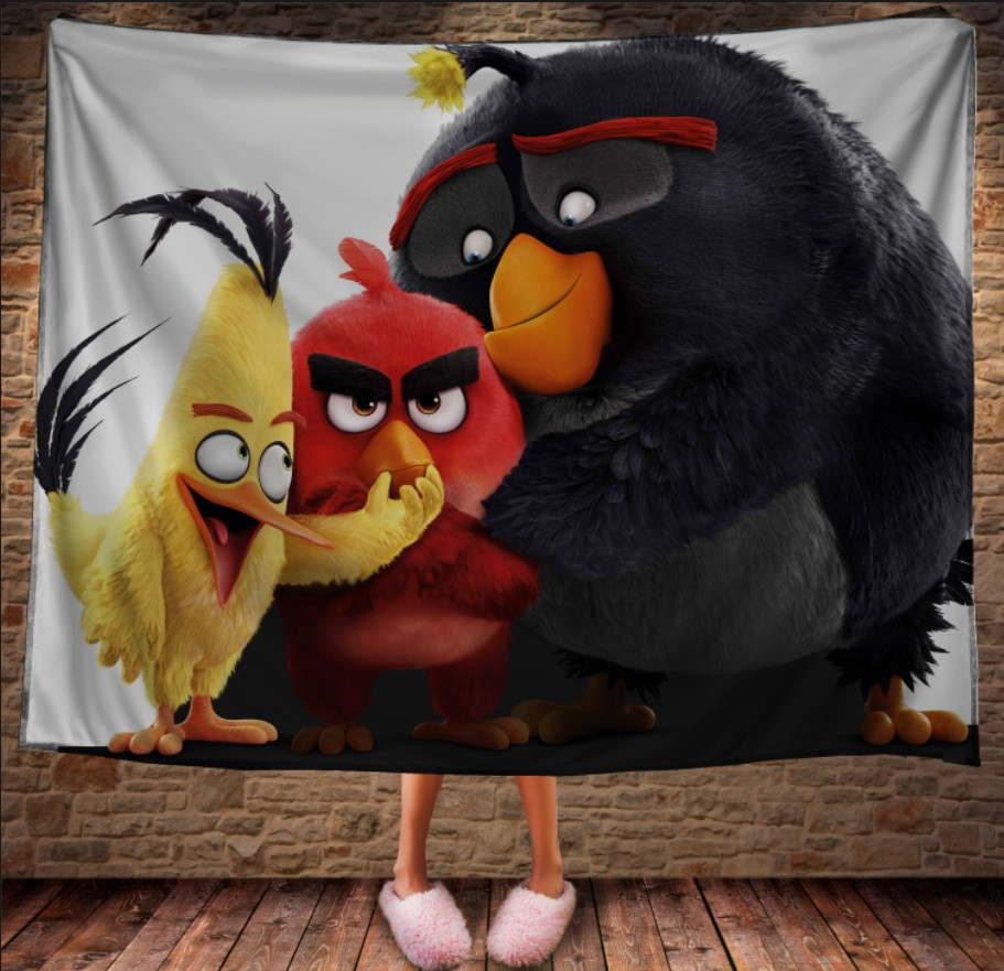 Плед з 3D принтом - Angry Birds Friends - горизонтальний