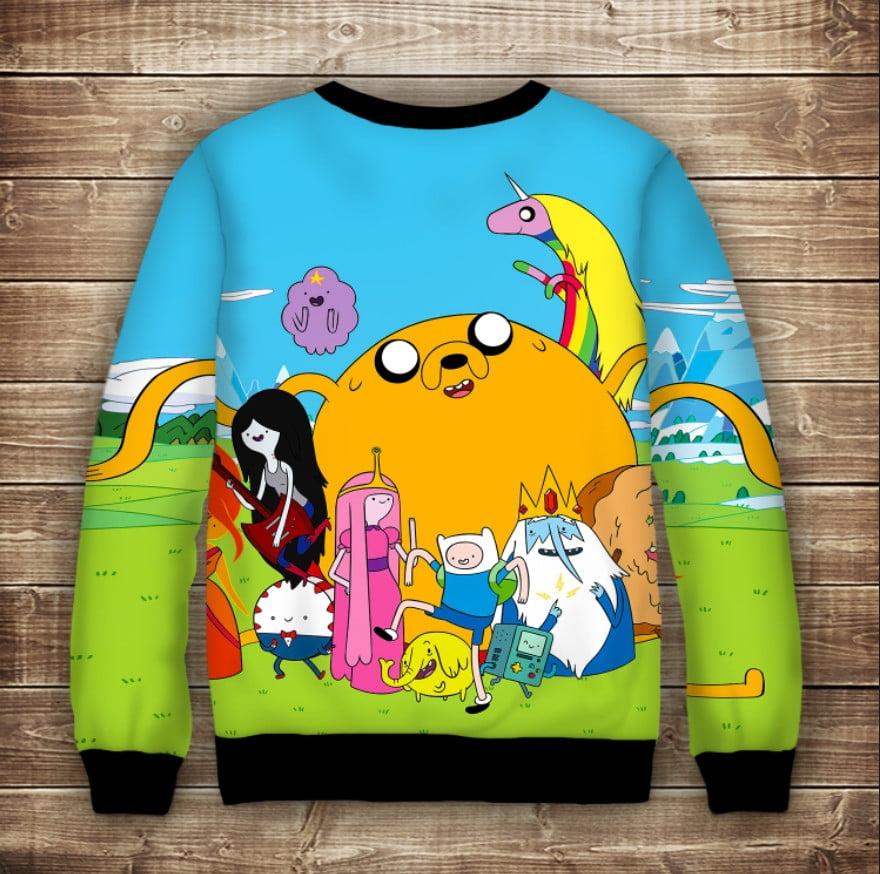 Свитшот с принтом Adventure time / Время приключений Счастье Взрослые и детские размеры