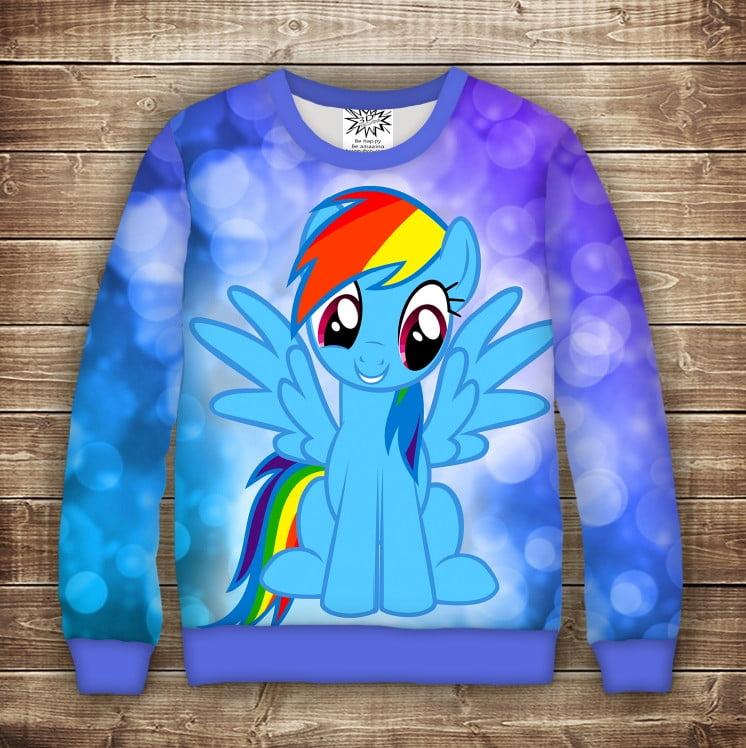 Свитшот з принтом Rainbow Dash Поні. Дорослі і дитячі розміри