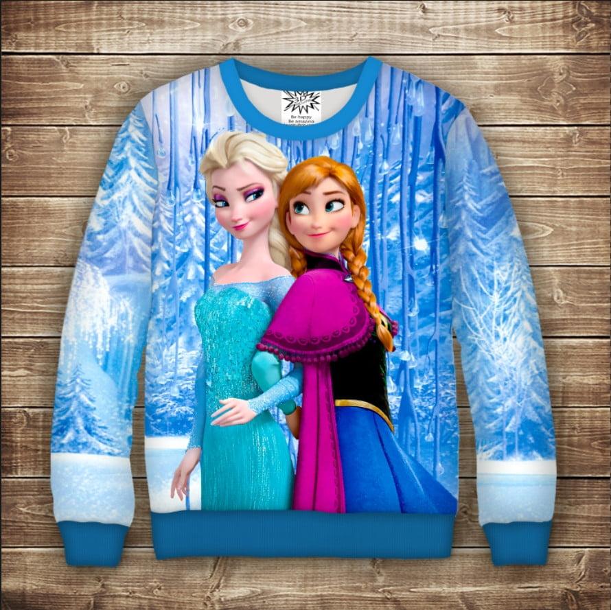 Світшот з принтом Frozen / Холодне Серце - Анна і Ельза біля водоспаду. Дорослі і дитячі розміри
