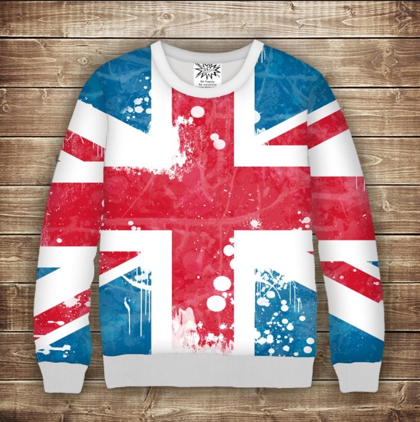 Світшот з принтом Британський прапор Дорослі і дитячі розміри
