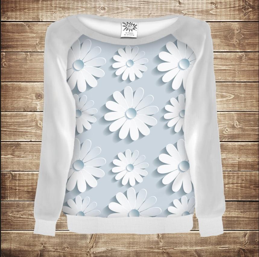 Жіночий світшот - реглан в романтичному стилі з 3D принтом Білі ромашки