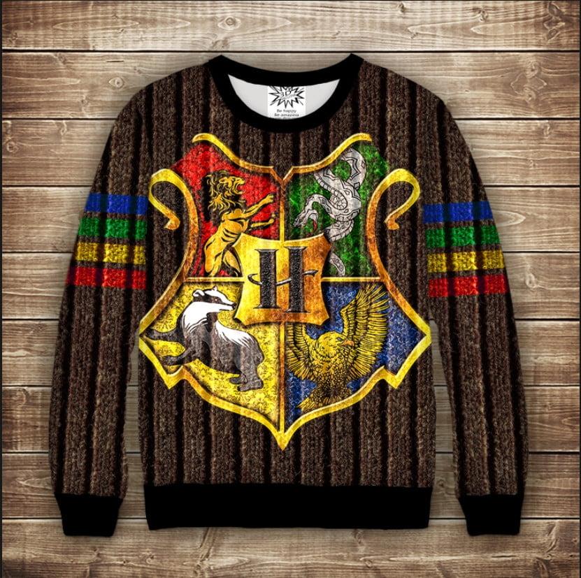 Світшот 3D Harry Potter Факультети Хогвартса